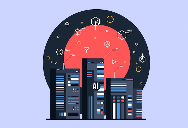 Ai, artificial intelligence composition, brain with electronic neurons. Premium Vector