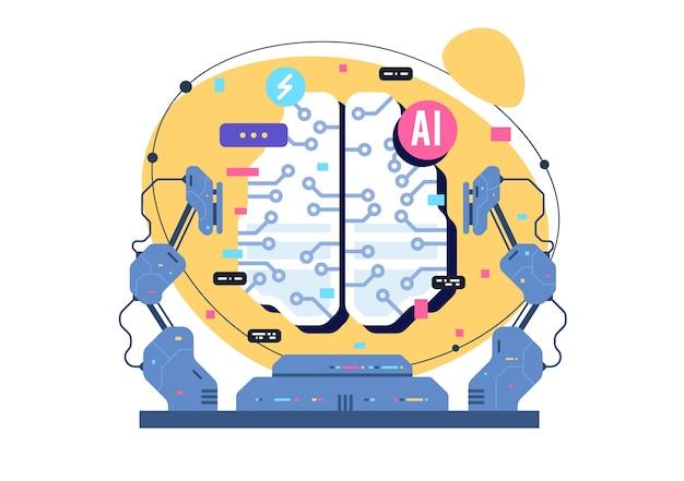 Ai、人工知能アイコンの概念、電子ニューロンを備えた脳。フラットなイラスト。 ai人工知能とヒューマンインテリジェンスコンセプトビジネスイラスト。 Premiumベクター