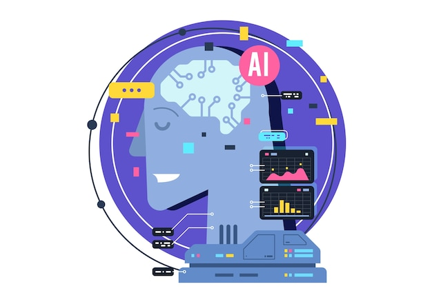 Ai, artificial intelligence icon concept, brain with electronic neurons. flat  illustration. ai artificial intelligence and human intelligence concept business illustration. Premium Vector