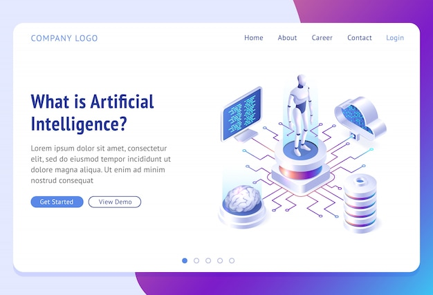 Ai, artificial intelligence isometric landing page Free Vector
