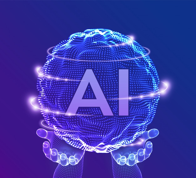 Ai artificial intelligence logo in hands. artificial intelligence and machine learning concept. sphere grid wave with binary code. Premium Vector