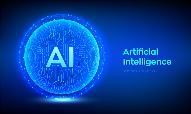 Ai. artificial intelligence and machine learning background Premium Vector