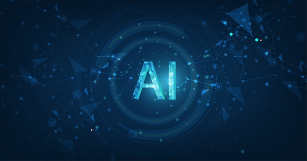 Ai(artificial intelligence) wording with the circuit design. Premium Vector