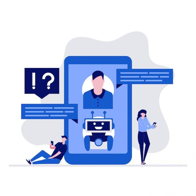 Aiチャットボットのサポートとfaqイラストキャラクターのコンセプト。スマートフォンでボットとチャットし、質問をし、回答を受け取る顧客。 Premiumベクター