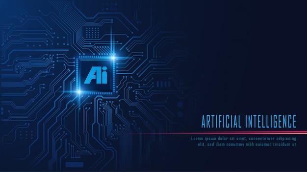 Ai chipset on circuit board Premium Vector