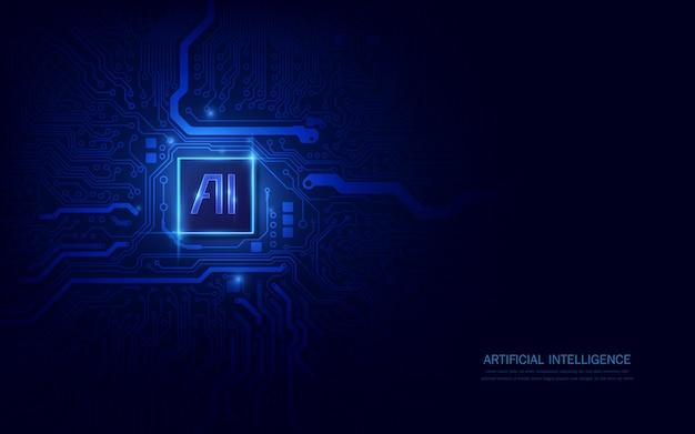将来の技術に適した未来的なコンセプトの回路基板上のaiチップセット Premiumベクター