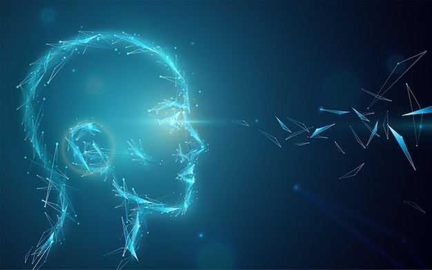 Ai concept  background. abstract artificial human head with eyes light. digital future vision illustration. Free Vector