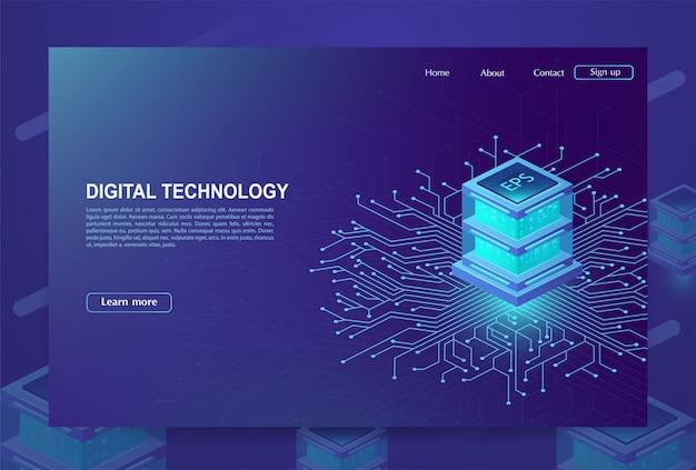 Ai. концепция большого центра обработки данных, облачной базы данных, станции будущего, интеллектуального анализа данных, энергетического сервера. цифровые информационные технологии, машинное программирование. векторная иллюстрация. Premium векторы