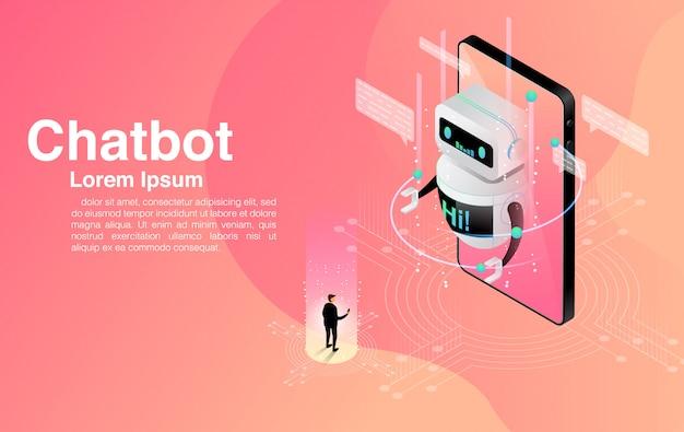 チャットボットアプリケーションとチャットする男。ダイアログヘルプサービス。 aiおよびビジネスiot。 Premiumベクター