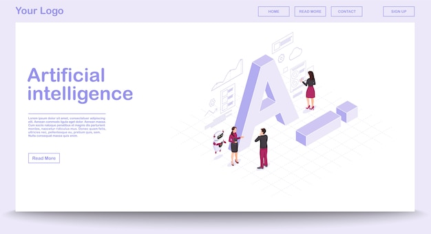 Ai isometric web page vector template with isometric illustration Premium Vector