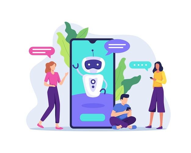Ai technology with chat bot receiving client messages. future marketing, smart artificial intelligence bot online talking helping client.  in a flat style Premium Vector