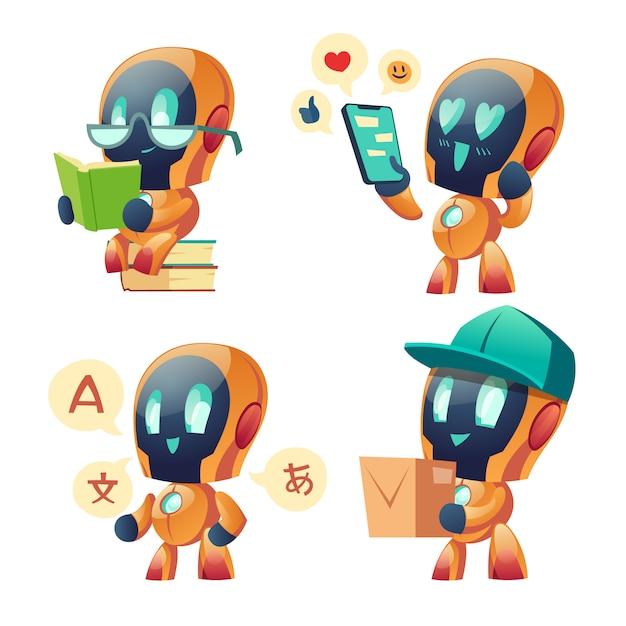 チャットボットaiロボットセット。将来のマーケティング革新 無料ベクター