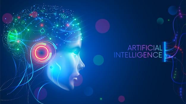 ニューラルネットワークを備えた人型頭部の人工知能は考えています。デジタルブレインを備えたai Premiumベクター