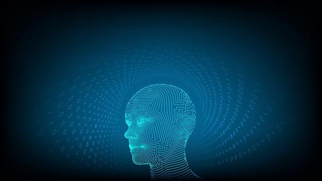 Ai. искусственный интеллект . абстрактное каркасное цифровое человеческое лицо. Premium векторы