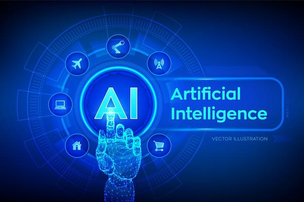 Ai. искусственный интеллект. рука трогательно цифровой интерфейс. Premium векторы