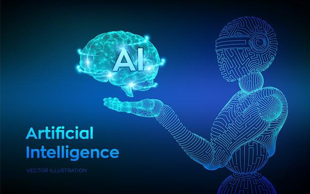ワイヤーフレームロボット。 aiサイボーグまたはボットの形の人工知能。ロボットハンドの脳。デジタル脳。 無料ベクター
