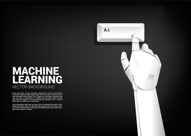 ロボットハンドタッチaiキーボードコンピューターを閉じる Premiumベクター