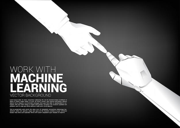 ロボットの指が実業家の指で触れます。 ai学習機時代のコンセプト誕生。 Premiumベクター