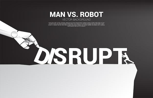 ビジネスマンは、ロボットの手と戦うためにドミノを押します。ドミノ効果を作るためにaiの混乱のビジネスコンセプト。 Premiumベクター