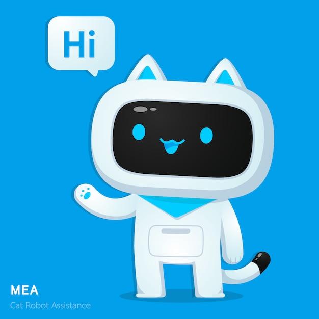 挨拶行動におけるかわいい猫aiロボット支援キャラクター Premiumベクター