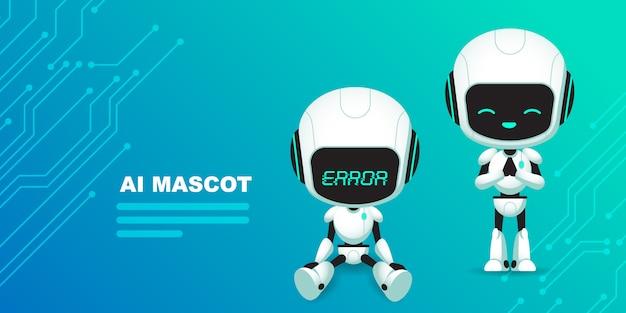 回路の背景を持つかわいいロボットaiキャラクターのセット Premiumベクター
