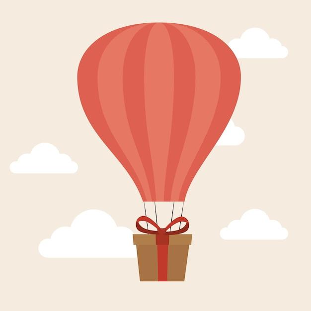 Air balloon delivery concept gift box cargo Vector | Premium