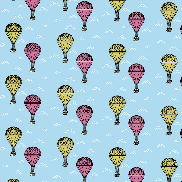 Air balloon pattern Free Vector