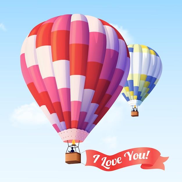 Air balloon with ribbon Free Vector