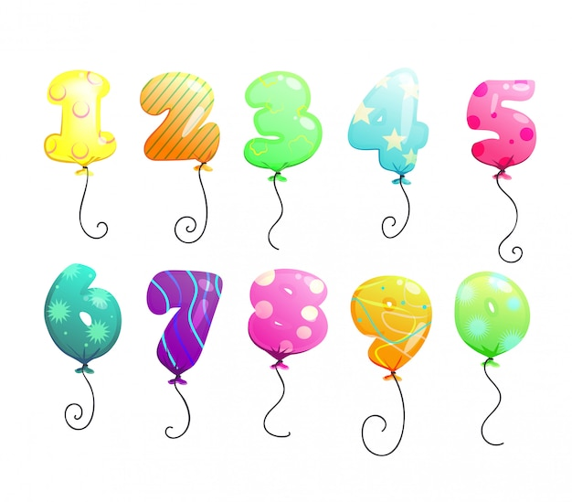 Air balloons numbers set Free Vector