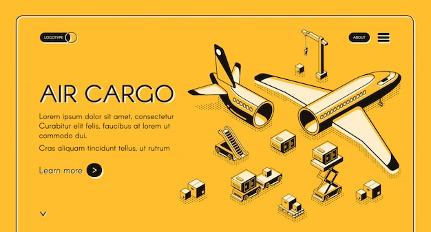 Air Cargo Logistics And Freight Delivery Illustration In Isometric Black Thin Line On Yellow Free Vector