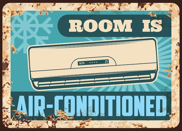 Air conditioned room metal plate Premium Vector