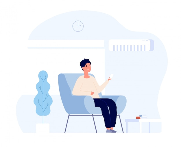 Air conditioner concept. young man sitting in home chair under air conditioning system. summer room cooling and cleaning.  image Premium Vector