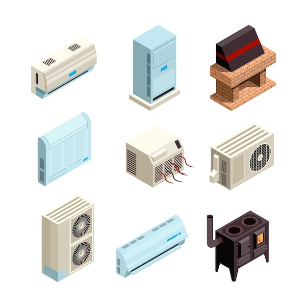 Air conditioner. heating and cooling systems various types with compressors and pressure pipes  pictures isometric Premium Vector