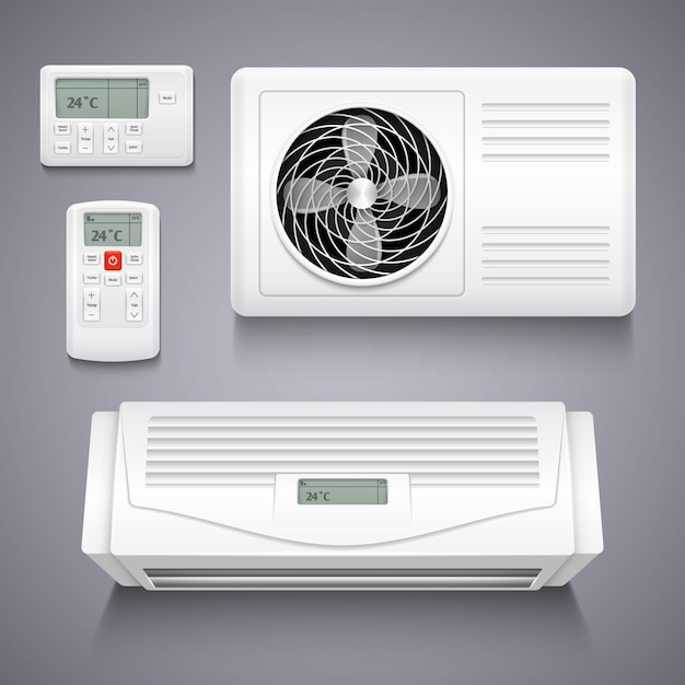 Air conditioner isolated realistic vector illustration. temperature air conditioner for home, electr Premium Vector