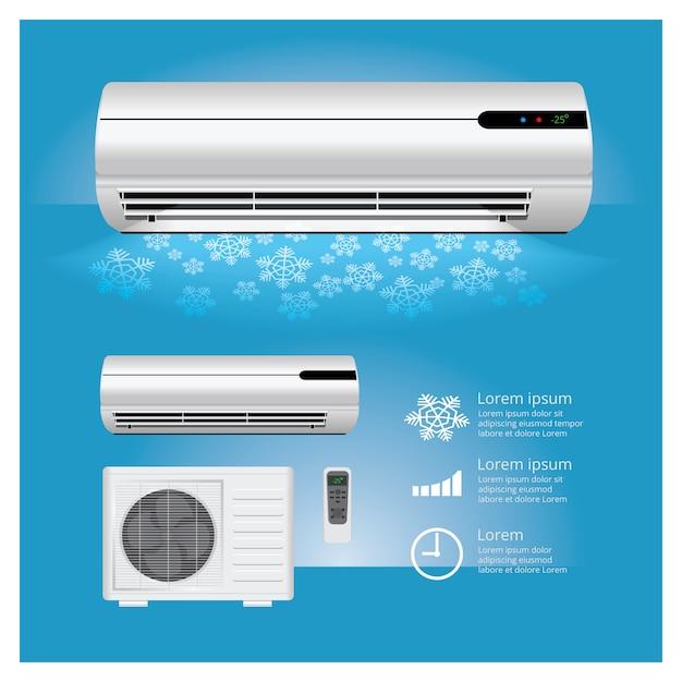 Air conditioner realistic and remote control Premium Vector