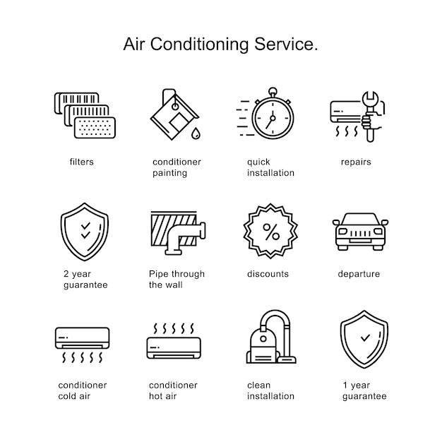 Air conditioner service. line icons two pixels stroke. Premium Vector