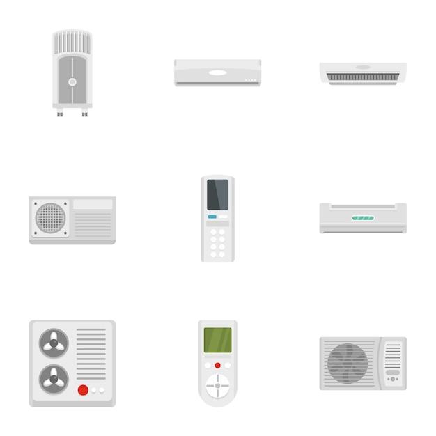 Air conditioner system icon set, flat style Premium Vector