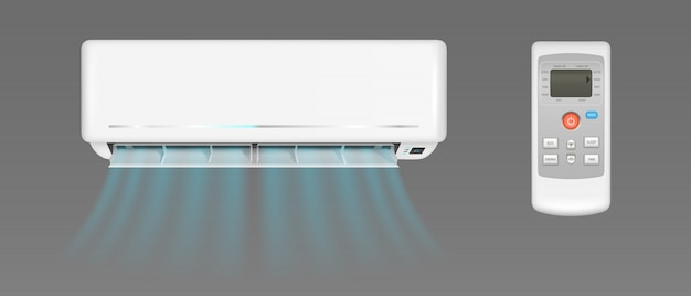 Air conditioner with cold wind and remote control Free Vector