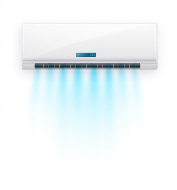 Кондиционер со свежим воздухом изолированы. белый кондиционер, изолированные на четком фоне в стиле. иллюстрация об электрооборудовании в доме. Premium векторы