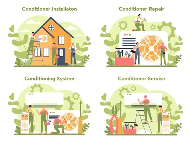 Набор концепций ремонта и установки кондиционеров Premium векторы