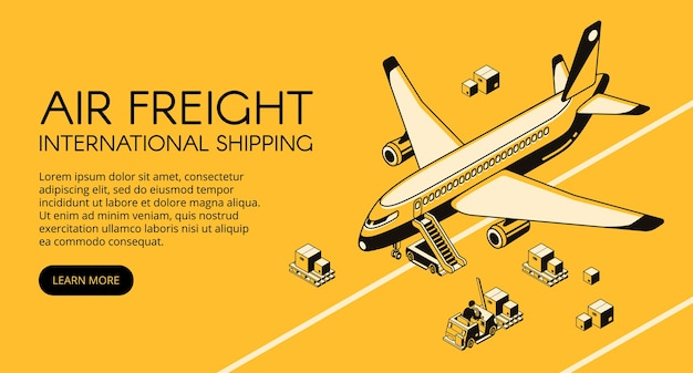 Air freight logistics illustration of airplane and parcels on forklift truck or loader pallet Free Vector