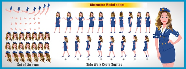 Air hostess character model sheet with walk cycle animations and lip syncing Premium Vector