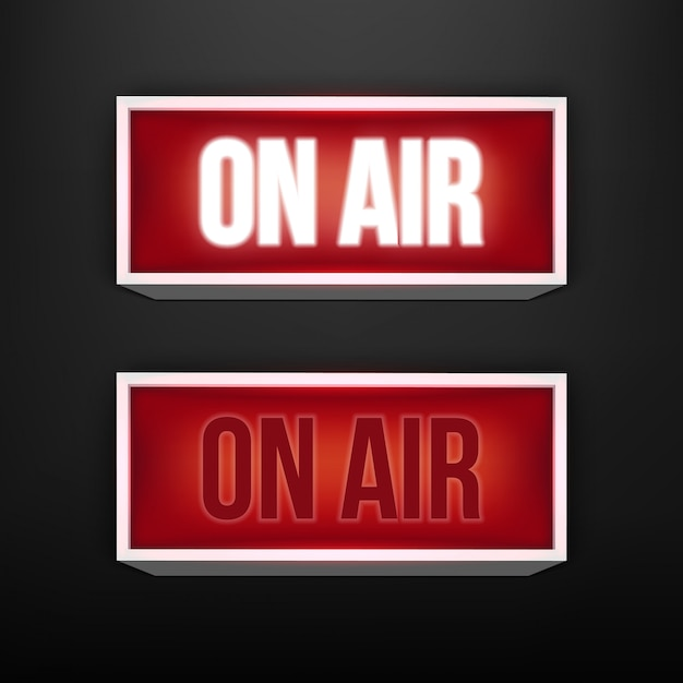On air live glowing tv, radio station, broadcast. Premium Vector