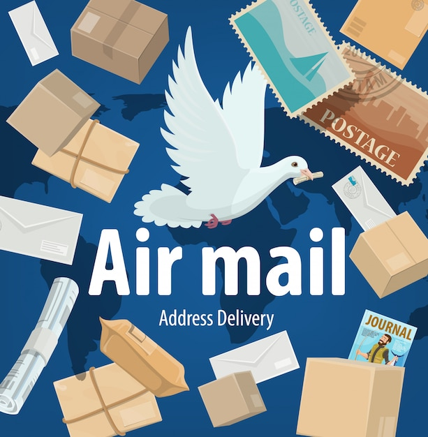 Air mail service, freight and parcels delivery  poster. cartoon white dove on world map background with mail boxes, postage stamps, parcels, journals and newspapers. express shipping post office Premium Vector