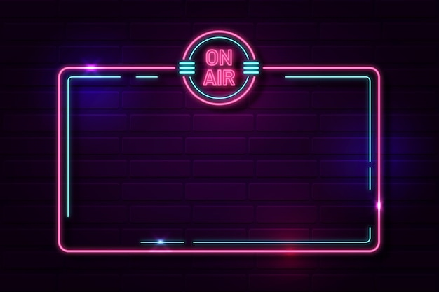 On air neon frame template Free Vector