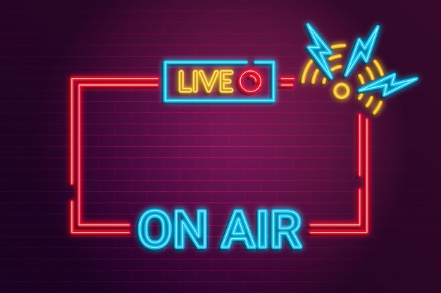 On air neon frame Free Vector