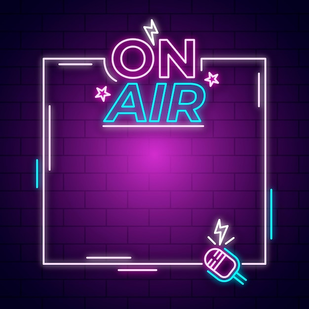 On air neon sign with frame Free Vector