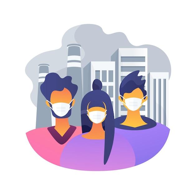 대기 오염 추상적 인 개념 그림입니다. 공장 오염, 대기 질 측정 방법, 환경 문제, 도시 스모그, 차량 배기 가스, 지구 온난화 무료 벡터