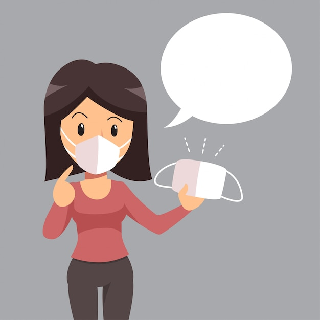 Air pollution concept woman wearing protective face mask and white speech bubble Premium Vector