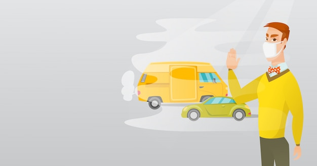 Air pollution from vehicle exhaust. Premium Vector